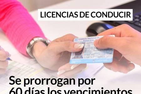 Licencias de conducir: se prorrogan por 60 días los vencimientos