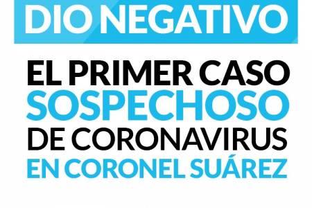 No hay ningún caso de coronavirus en Coronel Suárez. El primer caso sospechoso dio negativo.
