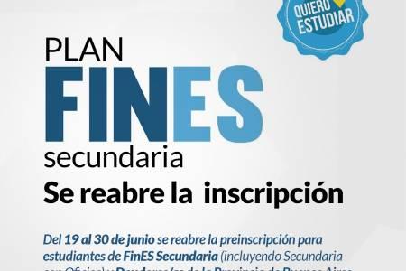 Plan FinEs Secundaria: se reabre la inscripción. Las clases comienzan en agosto