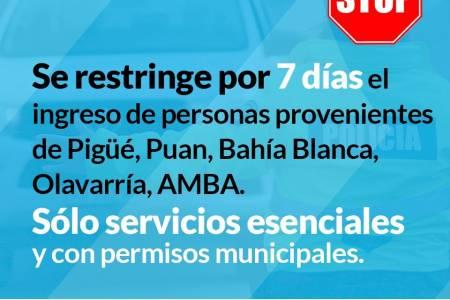 Se restringe por 7 días el ingreso de personas provenientes de Pigüé, Puán, Bahía Blanca, Olavarría y AMBA