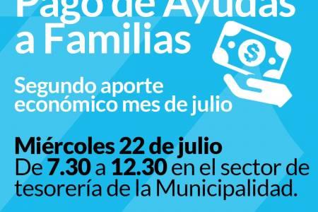 Segundo pago de ayudas a familias del mes de julio