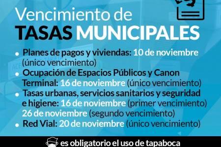 Vencimiento de tasas municipales del mes de Noviembre