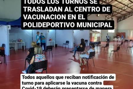 Todos los turnos se trasladan al centro de vacunación en el polideportivo municipal