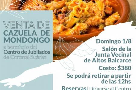 Venta de Cazuela de Mondongo a beneficio del Centro de Jubilados de Coronel Suárez*