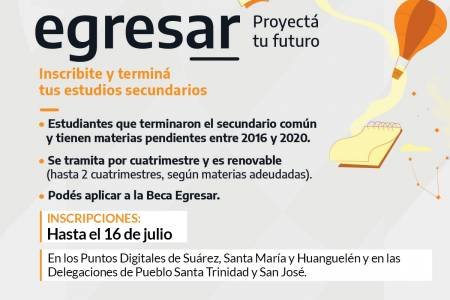Última semana para inscribirte en el programa EGRESAR