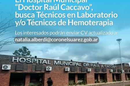 """El Hospital Municipal """"Doctor Raúl Caccavo"""", busca Técnicos en Laboratorio y/o Técnicos de Hemoterapia"""