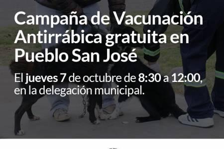Campaña de vacunación Antirrábica gratuita en Pueblo San José