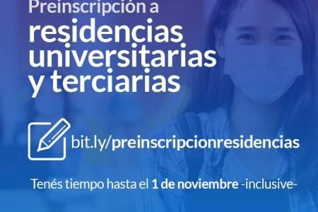 Preinscripción a residencias universitarias y terciarias
