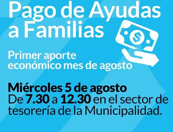 Primer pago de ayudas a familias del mes de agosto