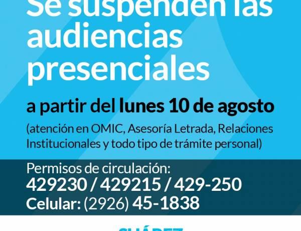 Municipio: se suspenden las audiencias presenciales