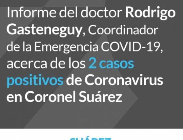 Informe del Dr. Rodrigo Gasteneguy acerca de los 2 casos positivos de Coronavirus en Coronel Suárez