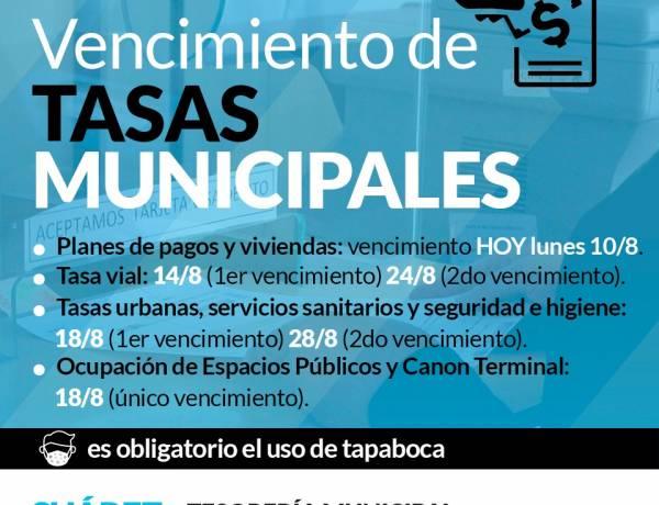 Vencimiento de tasas municipales del mes de AGOSTO