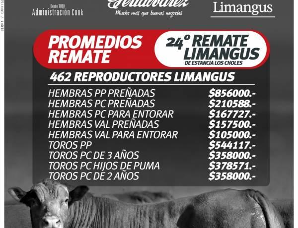 Resultados del 24º remate Limangus de Estancia Los Choles