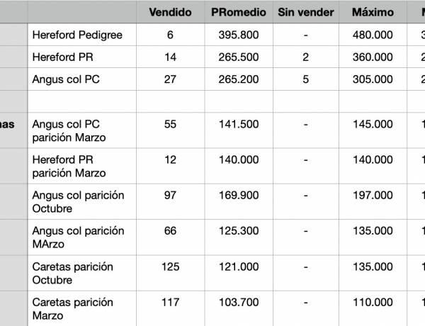 Resultados del 8º Remate de Reproductores de Estancia Lolén
