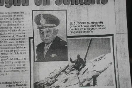 Micro Histórico: Un suarense escaló solo el Aconcagua